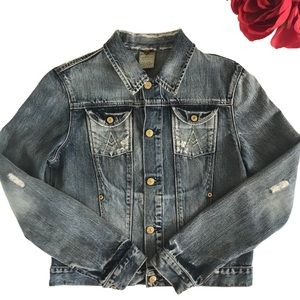 7 for all mankind A pocket distressed denim jacket